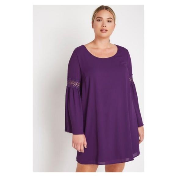 Eggplant Plus Mini Chiffon Dress